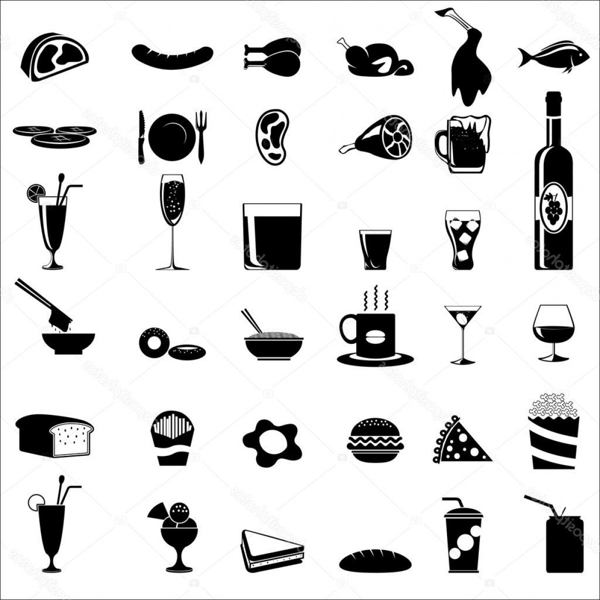 1228x1228 Stock Illustration Food And Beverage Icons Shopatcloth