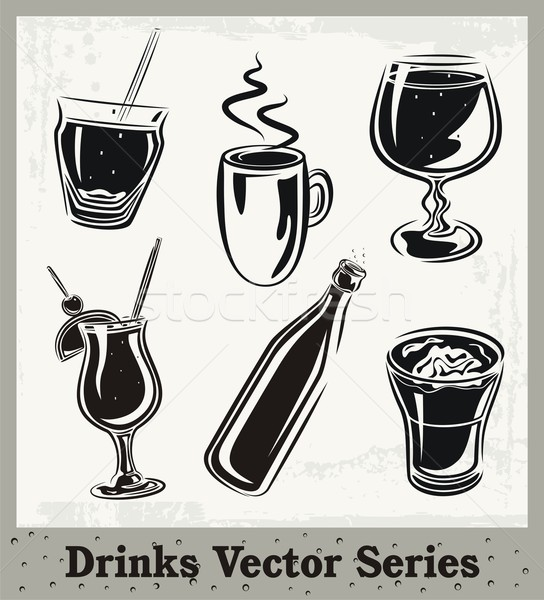 544x600 Vector Set Of Drink And Beverage Illustrations In Black And White