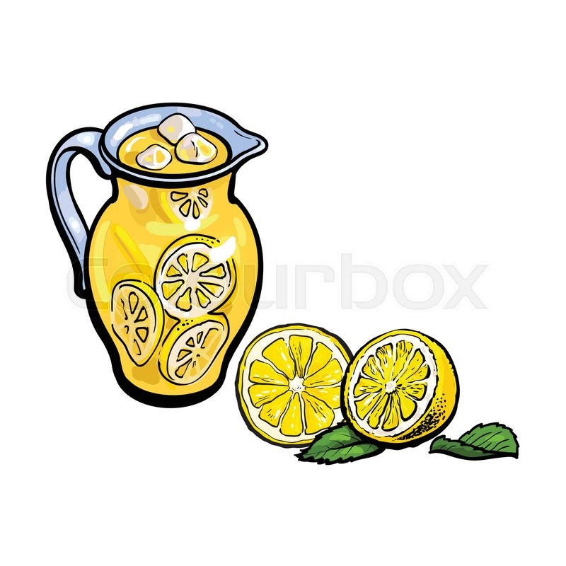 800x800 Vector Sketch Cartoon Lemonade Glass Jug, Pitcher With Handle