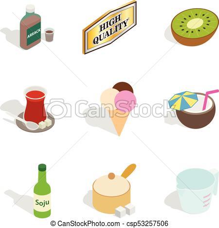 450x470 Beverage Icons Set, Isometric Style. Beverage Icons Set. Isometric