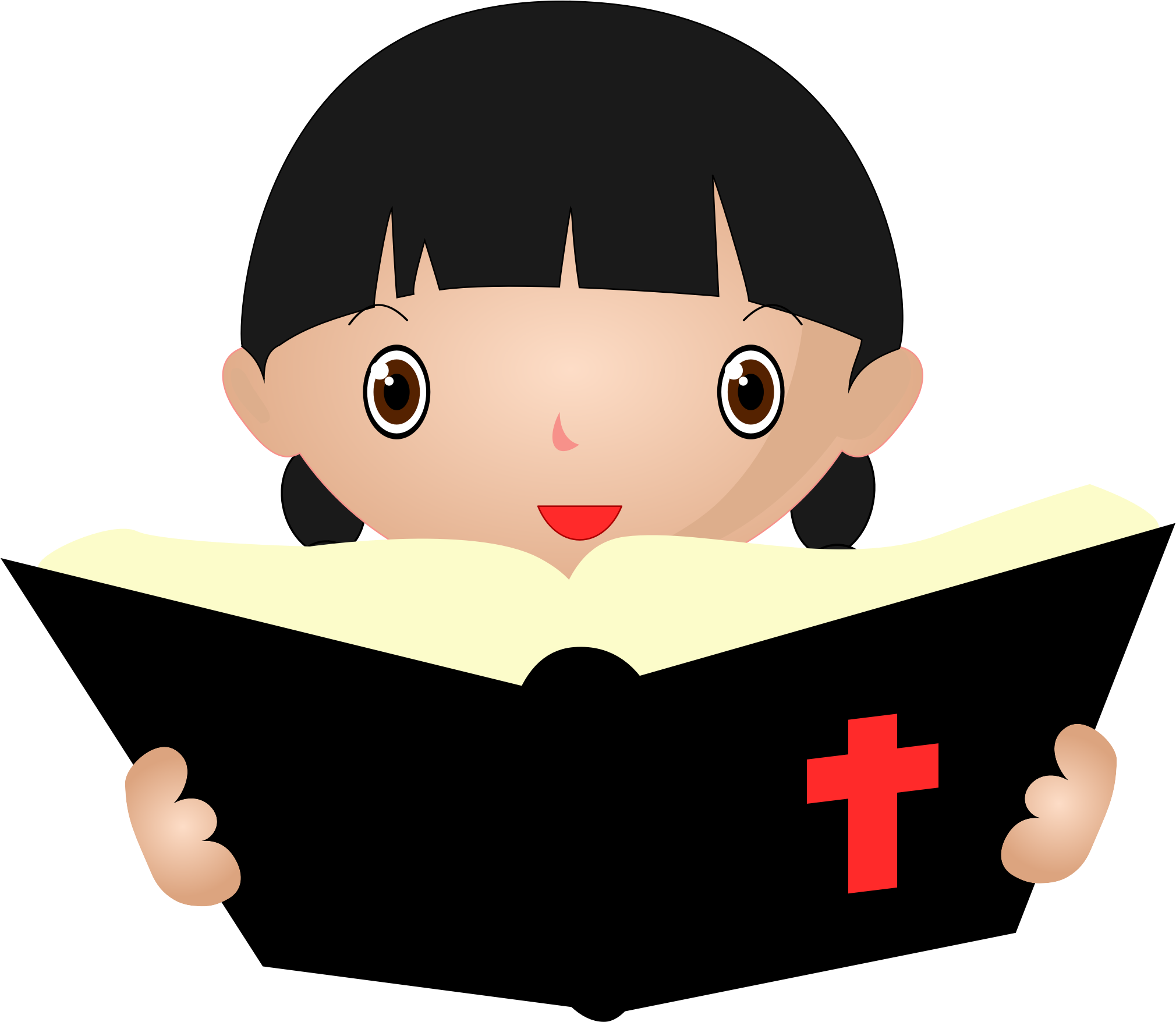 2020x1756 Girl Studying The Bible Vector Clipart Image