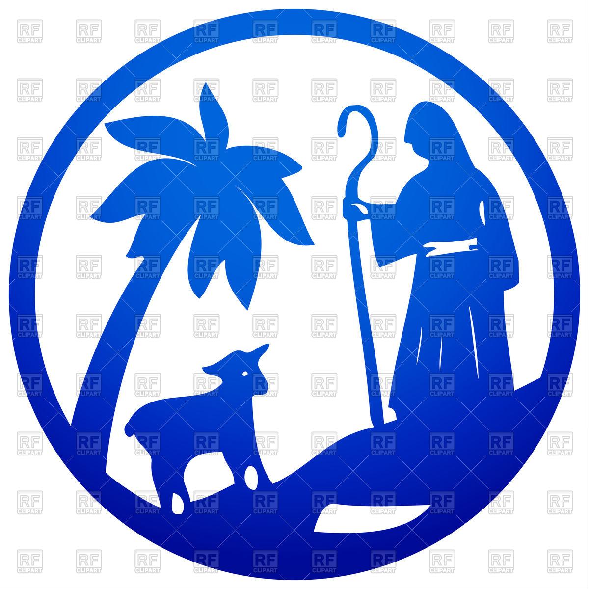 1200x1200 Shepherd And Sheep Scene Of Holy Bible Vector Image Vector