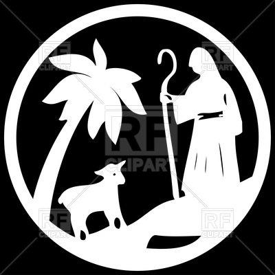 400x400 Shepherd And Sheep Icon. Scene Of The Holy Bible. Vector Image