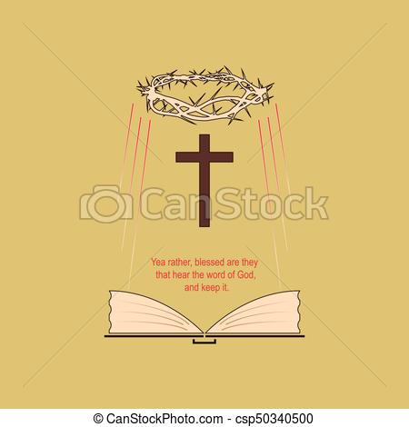 450x470 The Holy Bible. Religious Symbols With The Biblical Verse. Vector