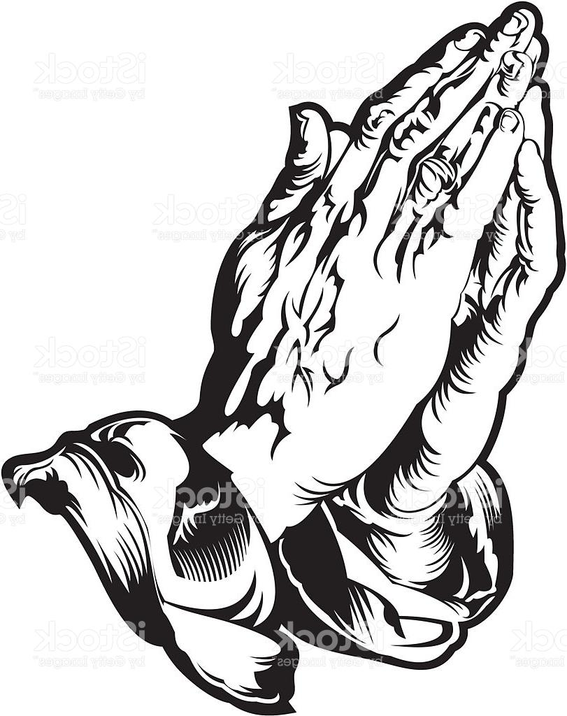 811x1024 Unique Praying Hands Cross And Bible Vector Design Free Vector