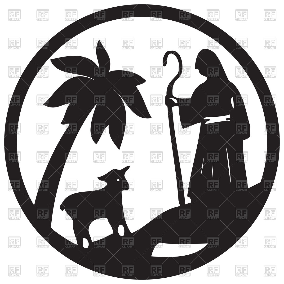 1200x1200 Shepherd And Sheep Silhouette, Scene Of The Holy Bible Vector