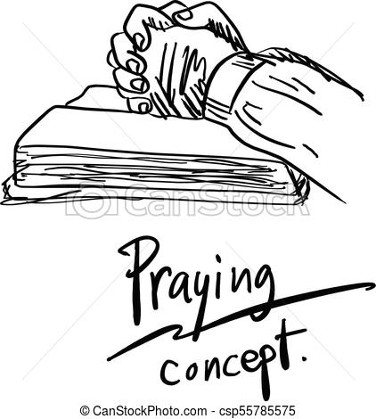 422x470 Close Up Hand Praying On Bible Vector Illustration Sketch Hand