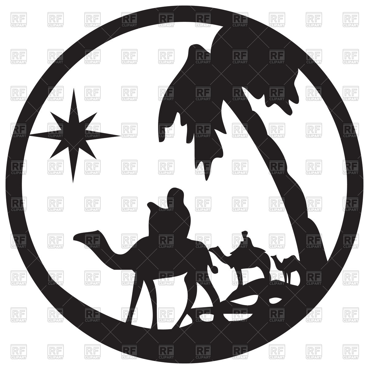 1200x1200 Silhouette Of Camel Caravan, Scene Of The Holy Bible Vector Image