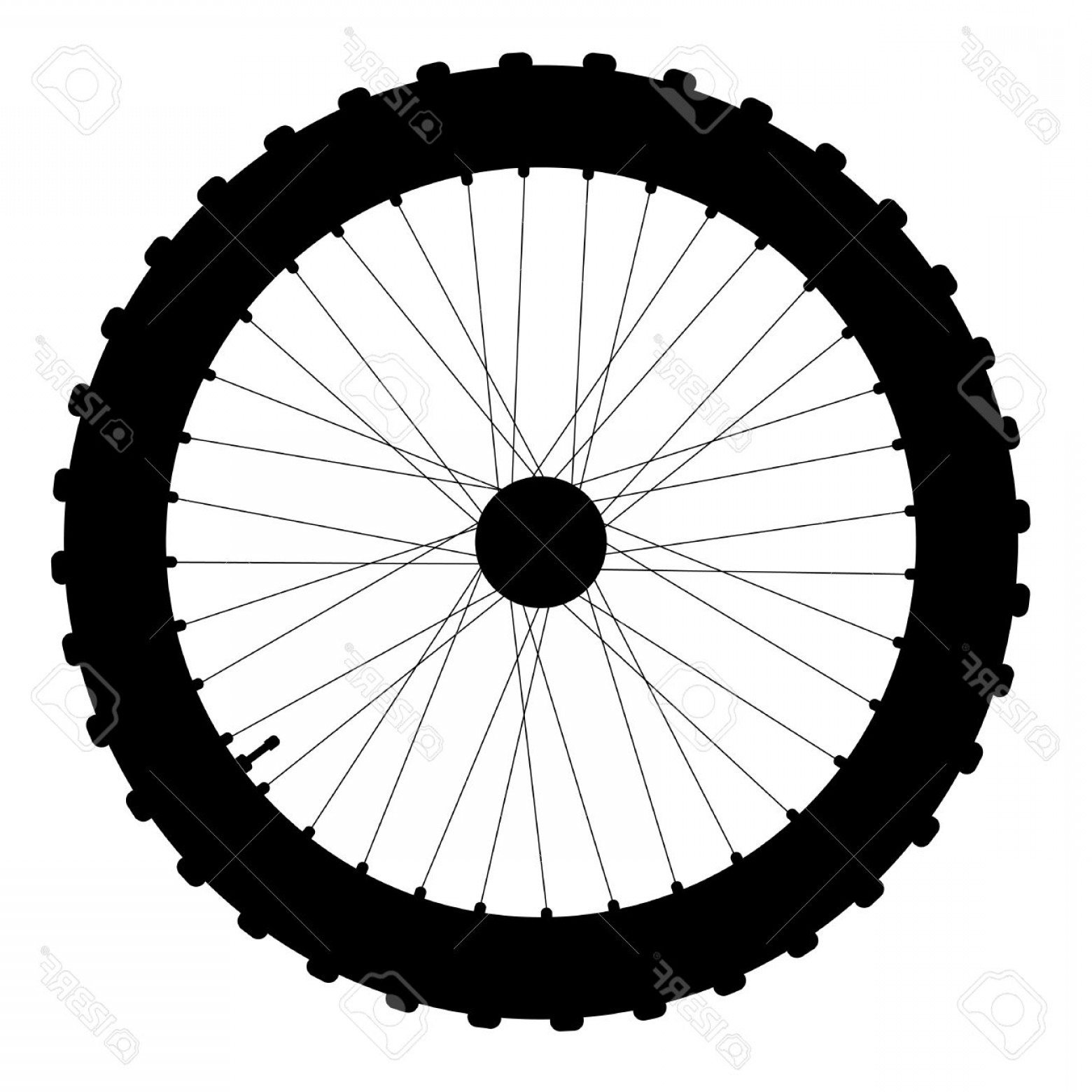 1560x1560 Photostock Vector A Knobly Tyre On A Bicycle Wheel With Valve And