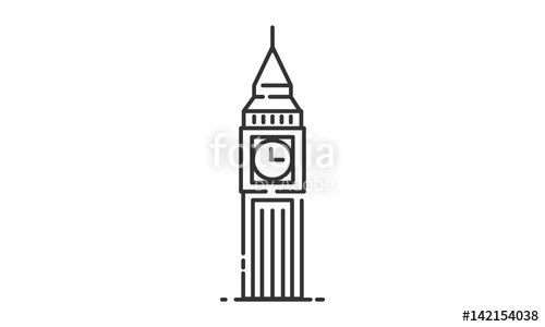 500x300 Big Ben Historic Site, Big Ben Heritage Site, Big Ben Icon Vector