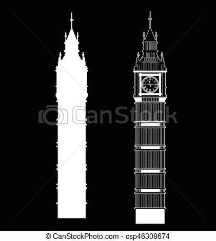 421x470 Big Ben Vector Contur And Silhouette. England Or London Icon Set.