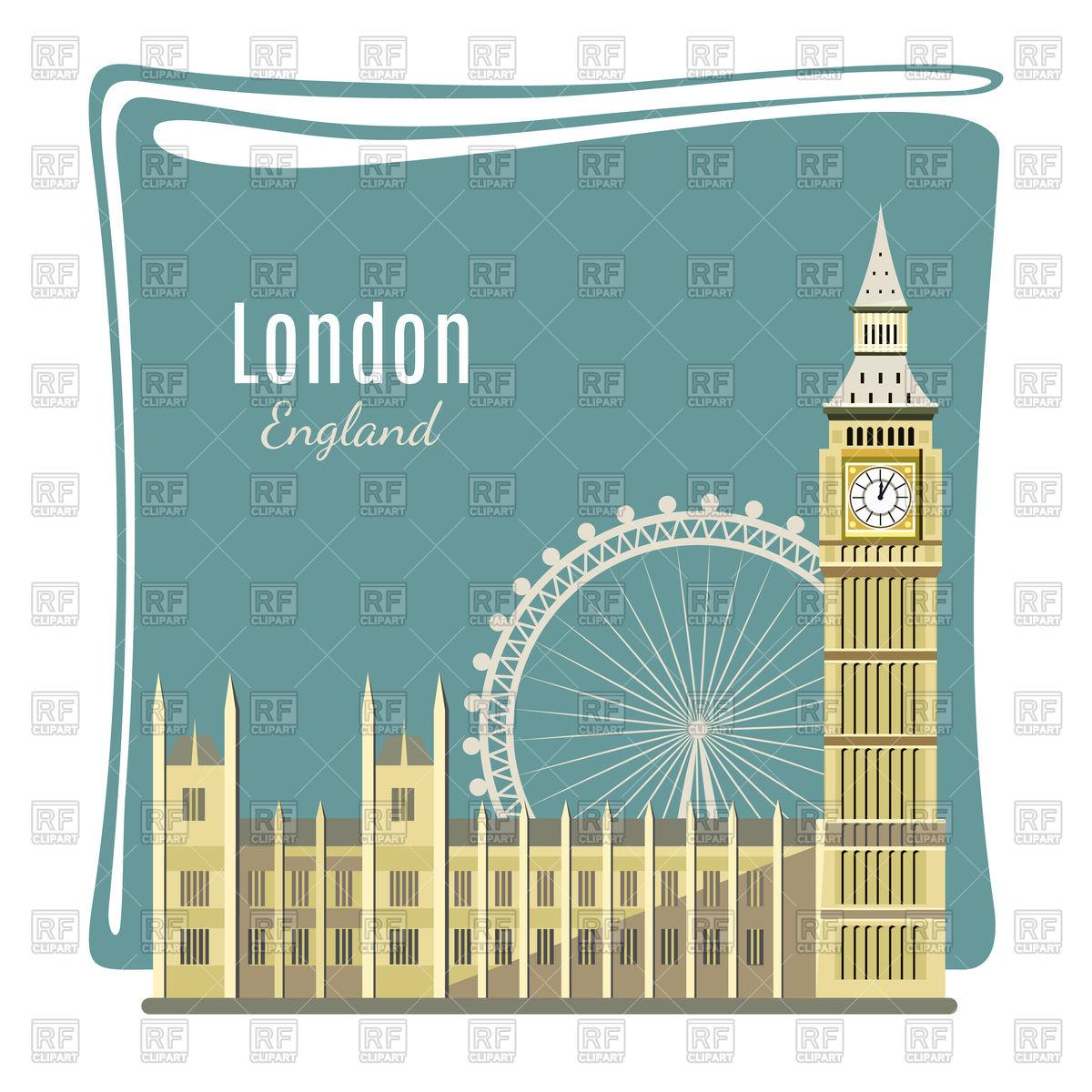1200x1200 London Landmark Card With Big Ben Vector Image Vector Artwork Of