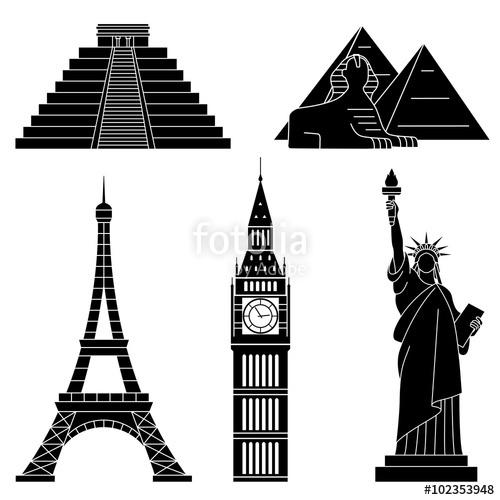 500x500 World Landmarks, Eiffel Tower, Statue Of Liberty,chichen Itza,big