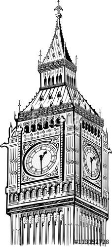 227x500 Detail Big Ben Tower Vector, London Symbol Stock Image And