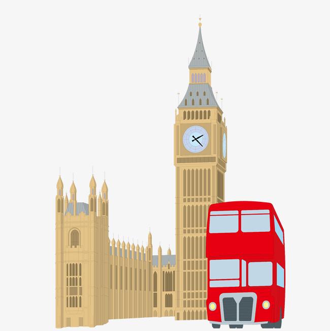 650x651 Big Ben London Bus Creatives, Big Ben, London Buses, Vector Png