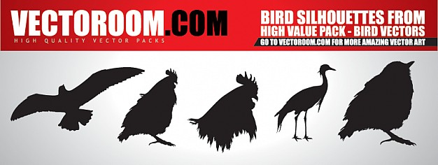 626x236 Big Birds Silhouettes Vector Free Download