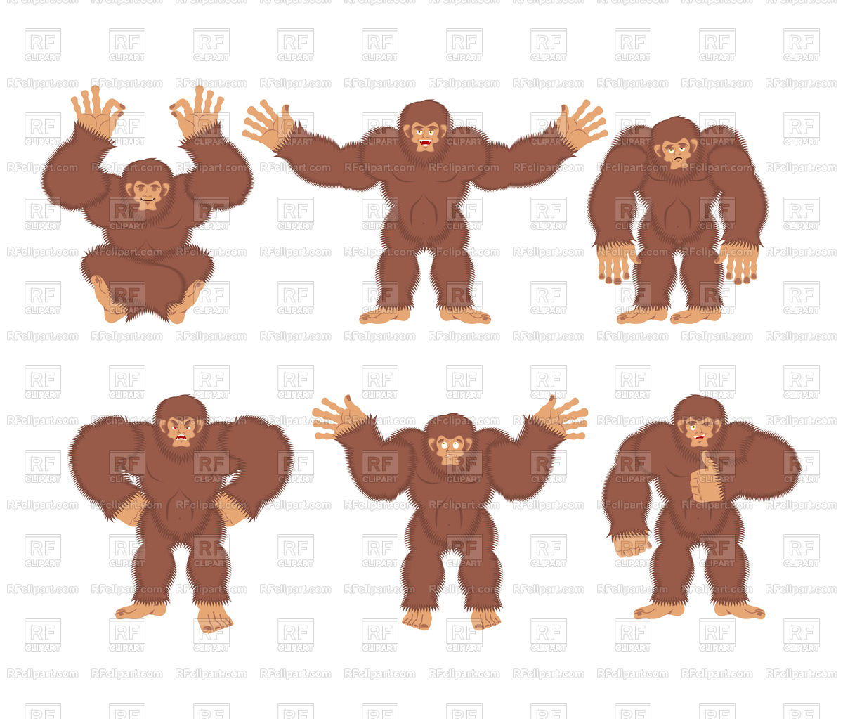 1200x1023 Bigfoot Poses Set Vector Image Vector Artwork Of Plants And