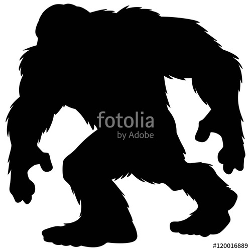 500x500 Bigfoot Mascot Silhouette Stock Image And Royalty Free Vector