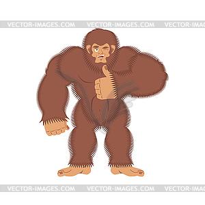 300x300 Bigfoot Thumbs Up. Yeti Winks Emoji. Abominable