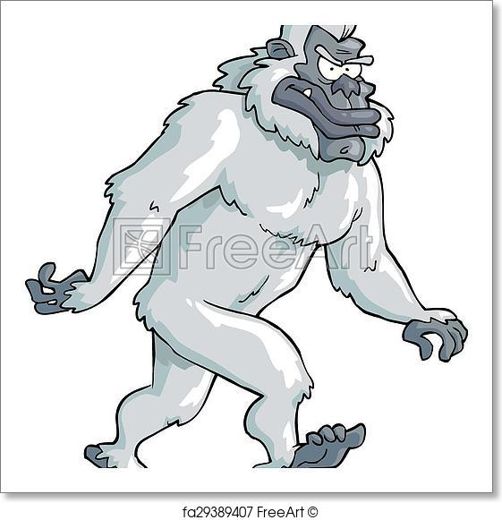 561x581 Free Art Print Of Bigfoot. Bigfoot On A White Background Vector