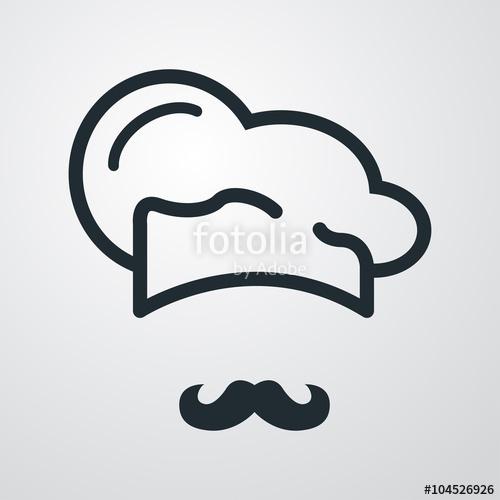 500x500 Icono Plano Gorro De Cocinero Y Bigote Sobre Fondo Degradado