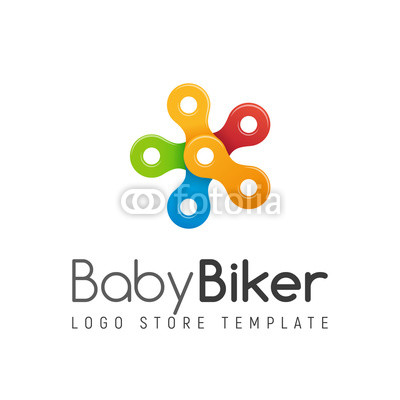 400x400 Bicycle Chain Vector Colorful Isolated Logo. Kids Bike Shop