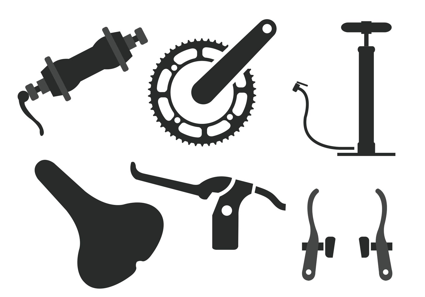1400x980 Bike Parts Vector