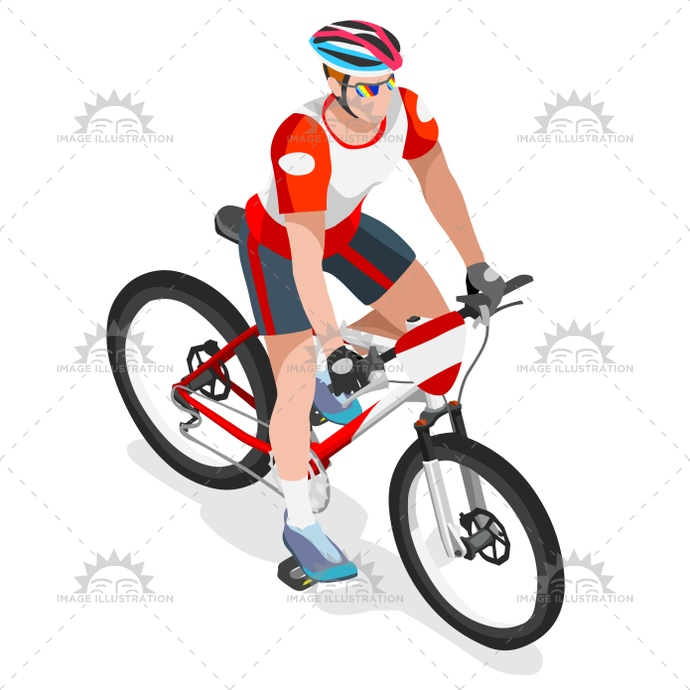 690x690 Cycling Mountain Bike 2016 Sports 3d Isometric Vector Ill