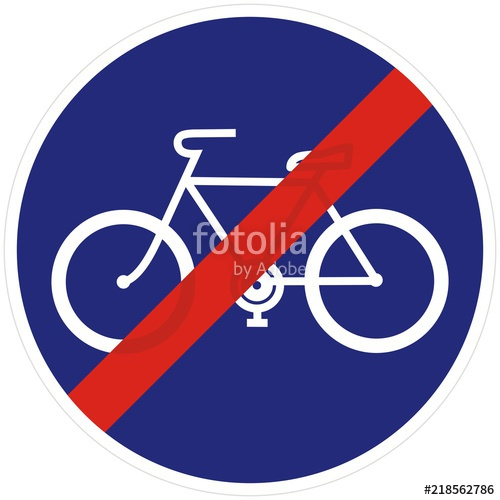500x500 Road Sign For End Of Bicycle Lane, Vector Icon Stock Image And