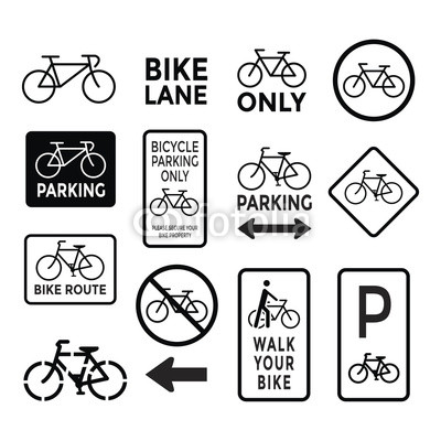 400x400 Bicycle Signs Black And White Set Vector Buy Photos Ap Images