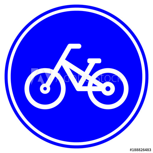 500x500 Bike Lane (Path) Road Sign. Bicycle Icon In Blue Circle. Vector
