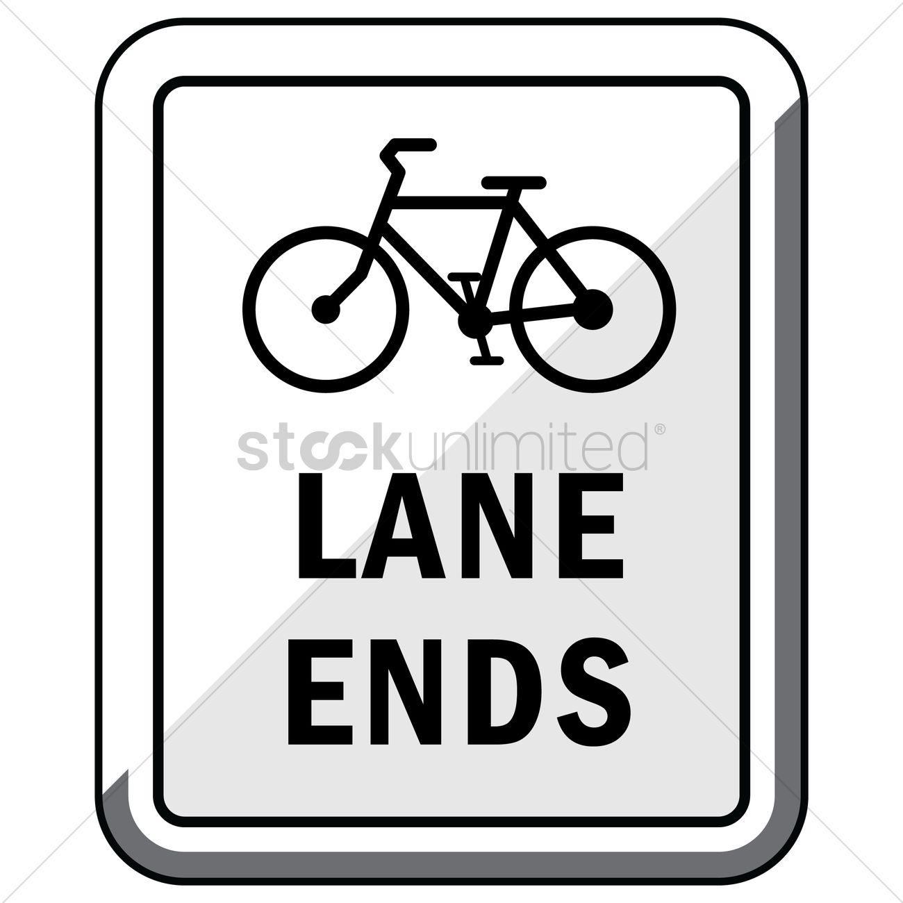 1300x1300 Bike Lane Ends Road Sign Vector Image