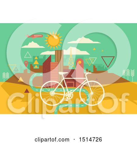450x470 Clipart Of A Bicycle Over A Bike Lane Leading To A Geometric City
