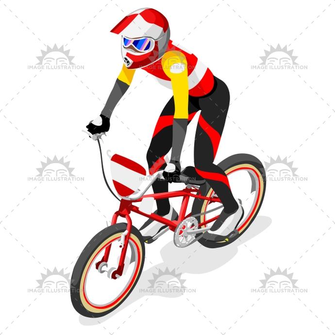 690x690 Cycling Bmx 2016 Sports 3d Isometric Vector Illustration