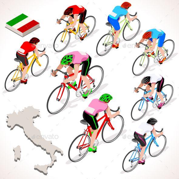 590x590 Download Free Graphicriver Cyclist Giro Italia Isometric People