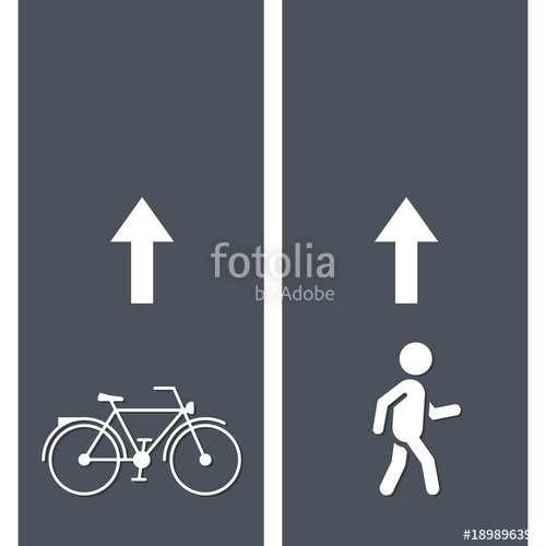 500x500 Bicycle And Pedestrian Paths. Walking Path And Bike Path Vector