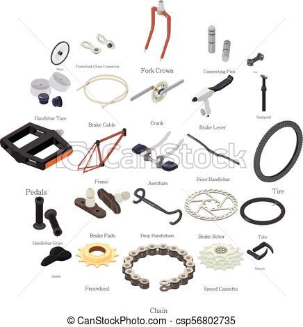 436x470 Bike Parts Icons Set, Isometric Style. Bike Parts Icons Set