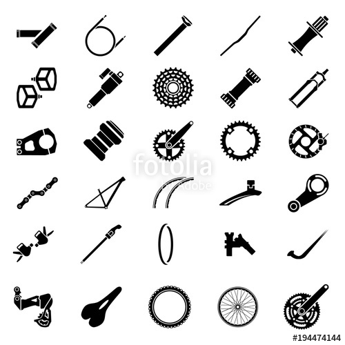 500x500 Fresh Bicycle Part Icons Pack. Icon Of Bicycle Component.mountain