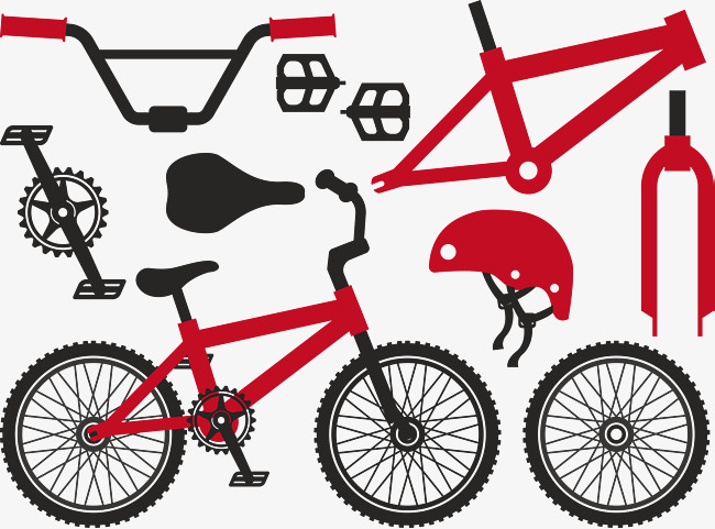 650x481 Red Bike Split Parts, Bike Vector, Bike Hand Painted, Cartoon