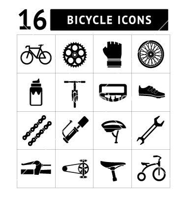 380x400 Set Icons Of Bicycle Biking Bike Parts Vector By Motorama