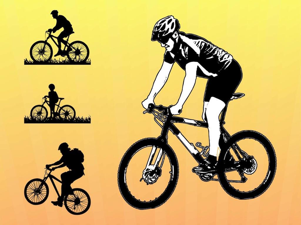 1024x768 Biking Vector Graphics