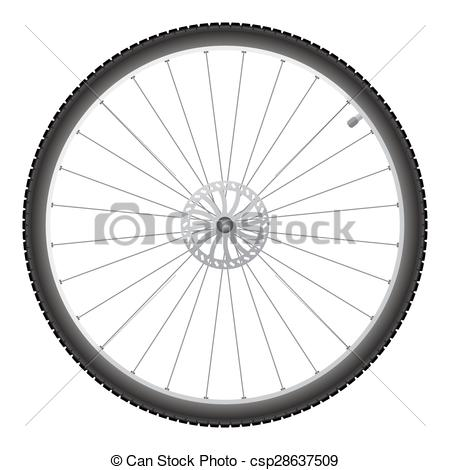 450x470 Bicycle Wheel, Vector. Black Bicycle Wheel On A White Background.