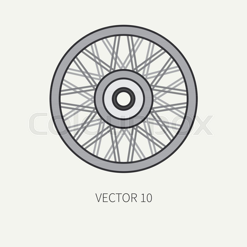800x800 Line Flat Color Vector Motorcycle Icon Classic Bike Wheel