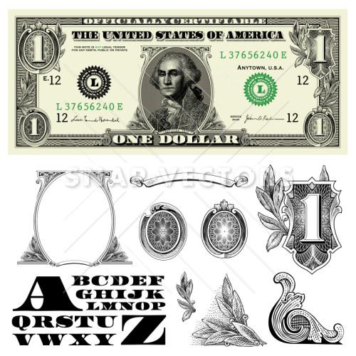 500x500 Money And Dollar Bill Elements Vector Clipart