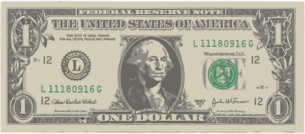 600x264 One American Dollar Bill Free Vector In Encapsulated Postscript