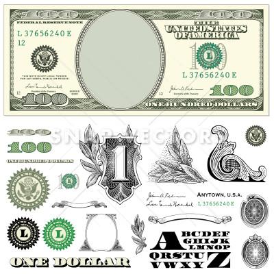 400x400 Vector 100 Dollar Bill Template Set