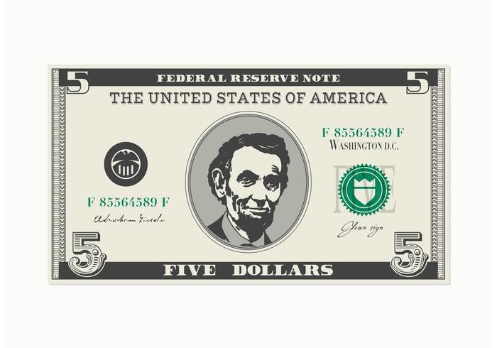 700x490 5 Dollar Bill Vector
