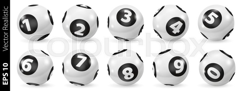 800x302 Lottery Number Balls. Black And White Balls Isolated. Bingo Balls