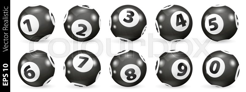 800x301 Set Of Black And White Lottery Balls. Bingo Balls Set. Bingo Balls