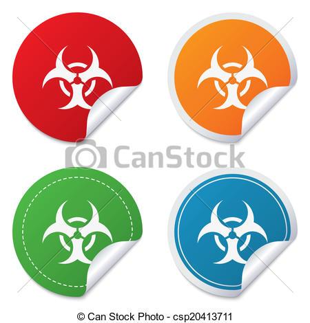 450x470 Biohazard Sign Icon. Danger Symbol. Round Stickers. Circle Labels